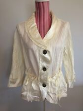 Top M Cream crinkle satin romantic retro fancy collar ruffle pockets blouse