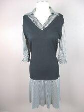 Bebe T479 Size L Women's White/Black V Neck 3/4 Sleeve 90% Silk Collared Dress
