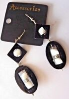 ACCESSORIZE MONSOON Black & White hanging EARRINGS FOR PIERCED EARS rrp £7.00 bn