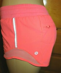 "LULULEMON Hotty Hot Shorts 2.5"" lined Grapefruit Neon Orange size 4-READ DESCRIP"
