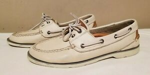 Sperry Top-Sider Men 8.5 W Boat Shoes Genuine Leather Men Cream Color 2 Eye