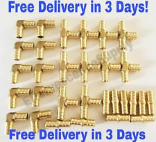 "(30 Pcs) 3/8"" BRASS PEX FITTINGS 10-EACH ELBOW, COUPLER, TEE (LEAD FREE BRASS)"