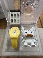 "New Swatch Watch, Mustache Dunny 3"" by Kidrobot X Kozik Limited Edition, Yellow"