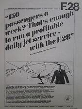 7/1968 PUB FOKKER AIRCRAFT HOLLAND FOKKER F28 FELLOWSHIP MKH LANCEE FRENCH AD