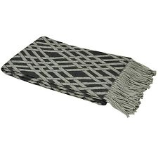 100% Acrylic Fringed Throw in Charcoal Grey with Check Design 140cm x 20cm