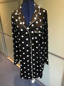 Victoria Secrets ladies satin polyester navy spot nightshirt size S