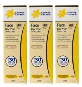 3 X CANCER COUNCIL 75mL FACE DAY WEAR SUNSCREEN LIGHT TINT SPF+30