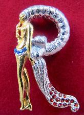 ERTE Initial R Signed Gold Sterling Silver Swarovski Crystals Art Pendant Brooch