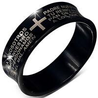 Zense - Bague homme noire acier concave croix latine ZR0110 - Taille 64