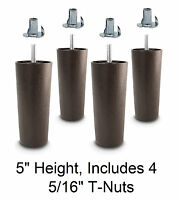 """5"""" Universal Dark Brown Plastic Legs Sofa/Couch/Chair 5/16"""" - Set of 4 w/T-Nuts"""