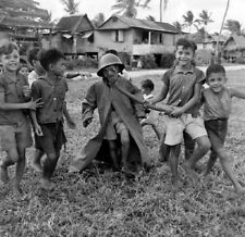 WW2  Photo WWII Children on Guam Playing with Gas Mask 1945 World War Two / 1592