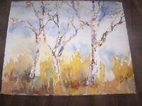 "Original Watercolor By Peg Humphreys, Birch Trees 11.25""x13.75"""