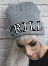 TRILL BEANIE GREY HAT SWAG DOPE STREET WEAR STUDS BEENIE FASHION