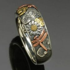 Metal Fashion Jewelry Gift Animal Rings Retro Women Ring Carved Flower Dragonfly