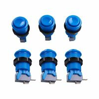 6x Blue Happ Style Standard Arcade Push Button with Microswitch for Mame,Jamma