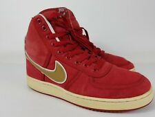 Nike High Top Red With Gold Swoosh Sample FTSS Canvas Shoe Mens Size 9