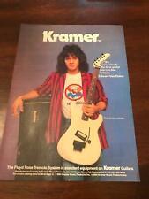 1984 Vintage 8X11 Print Ad For Kramer Guitars Eddie Van Halen Floyd Rose Tremolo