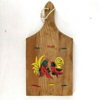 Vintage Red Cock Fighting Rooster Wood Cutting Board Paddle