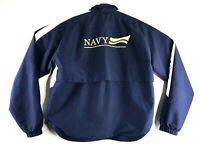 Mens Brooks Windbreaker Jacket Navy Military Running Zip Up Vented Sz Small Blue