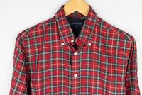 Tommy Hilfiger Men Casual Shirt Red Check Cotton size S