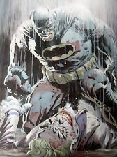 Batman and Joker oil painting 28x16in. Framing avail. Dark Knight Superman Bane