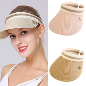 Ladies Women Summer Sun Visor Beach Hat Long Brim Straw Tennis Cap