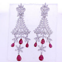 12.04 CTW Ruby & Diamond Dangling Earrings F SI in 18K White Gold