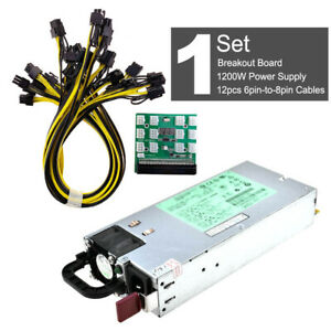 DPS-1200FB A 1200W PSU Power Supply + Breakout Board + 12pcs 6pin-to-8pin Cables