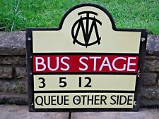 Original Vintage Large 1960s ENAMEL 2-SIDED  MANCHESTER BUS STOP SIGN    MTC