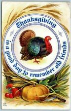 """Turkey in Dinner Plate-""""A Good Day to Remember Old Friends"""" Thanksgiving PC-m298"""