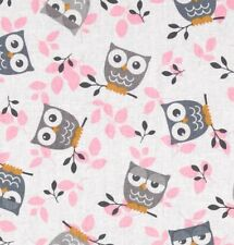 NEW Tossed Owls Birds Baby Nursery Gray Pink White Valance Curtain