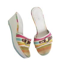 Coach Vintage White Fionah Colorful Wedge Heels Sandals Shoes Sz 9.5 Womens