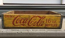 Vtg Yellow Red Coca Cola wooden Crate Bottle Carrier case Coke Half Quarts