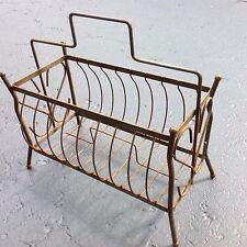 "Vintage Iron Metal Storage Basket ~ 15"" X 9"" X 10"" ~ Records Magazine Holder"