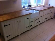XL Solid Pine Freestanding Kitchen Belfast Butler Sink Unit Oak Top Rustic