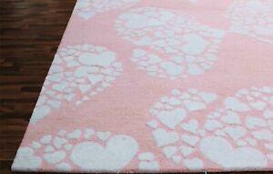 Little Heart Pink 5' x 8' Handmade Modern Kids Style Woolen Rugs & Carpets