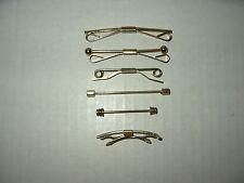 """6 Assorted Vintage Estate Goldtone Men's Shirt Collar Bar Clips 1 3/4"""" - 2 3/8"""""""