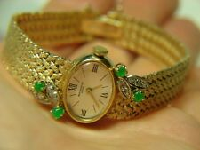14K Solid Gold Baume Mercier ~ Dressy Lady Watch + Diamonds Emeralds ~ Vintage
