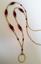 GOLD & Red Beaded Components ID Badge Holder HANDMADE Lanyard Fashion Necklace