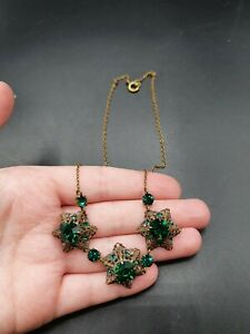 Vintage Antique 1930s Czech Green Glass Filigree Star Rare Raised Necklace