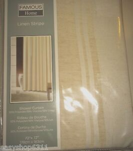 "LINEN STRIPE FABRIC SHOWER CURTAIN SIZE 70""X 72"" NEW IN BAG $49.00"