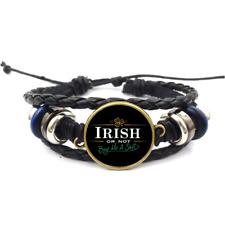 Irish Or Not Glass Cabochon Bracelets Braided Leather Strap Bracelet