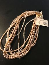 BEAUTIFUL18 inch Champagne Pearl Beaded Multi 8 Strand Clear Rhinestone Necklace