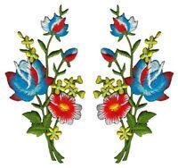 ac96 Blumen Set 2 Stück Aufnäher Bügelbild Patch Applikation Strauß 5,5 x 11 cm