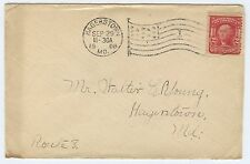 Hagerstown MD 1908 to Walter Young Route 8 - FLAG CANCEL