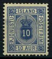Iceland 1896-1899 SG#O38, 10a Ultramarine Official P12.5 MH Cat £65 #E22935