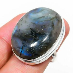 Labradorite Gemstone Handmade 925 Sterling Silver Jewelry Ring Size 5 U383