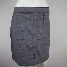 Prana Womens Denim Kara Skirt Size 12 NWT Pinstripes White Black Pockets New $69