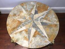 Antique Style French Parisian Brass Ormolu Marble Onyx Starburst Coffee Table