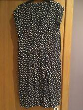 Navy & beige bird pattern short sleeve White Stuff lined dress size 12